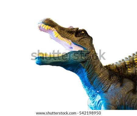 Dinosaur roaring, isolated on white background with clipping path