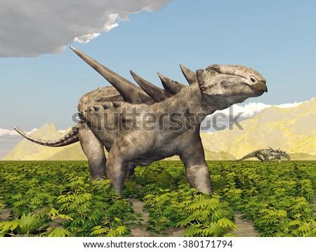 Dinosaur Sauropelta Computer generated 3D illustration - stock photo