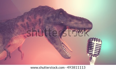 Dinosaur sing to a old microphone . This is a 3d render illustration