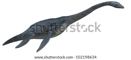 Dinosaur swimming - stock photo