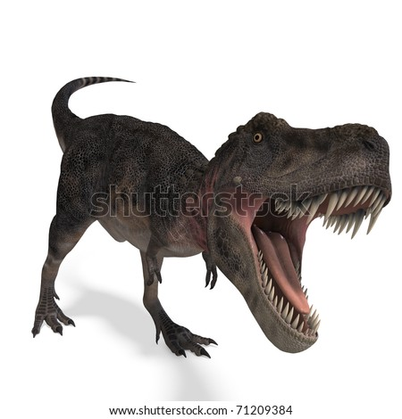 Dinosaur Tarbosaurus. 3D rendering with clipping path and shadow over white
