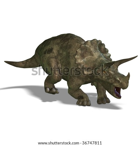 Dinosaur Triceratops. 3D render with clipping path and shadow over white - stock photo