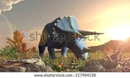 Dinosaur triceratops eating jurassic  - stock photo