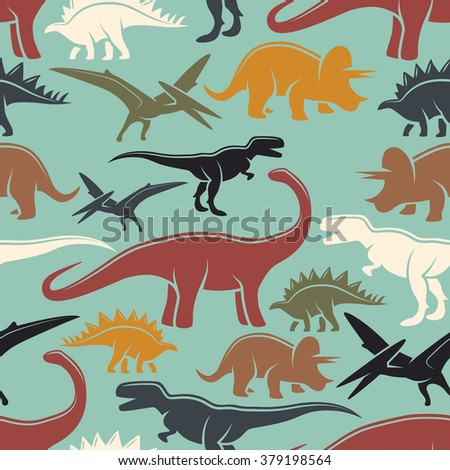 Dinosaur vintage color seamless pattern. Monochrome style.