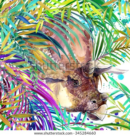 Dinosaur watercolor. Dinosaur, tropical exotic forest background,  illustration Dinosaur. watercolor background. unusual exotic nature and dinosaur
