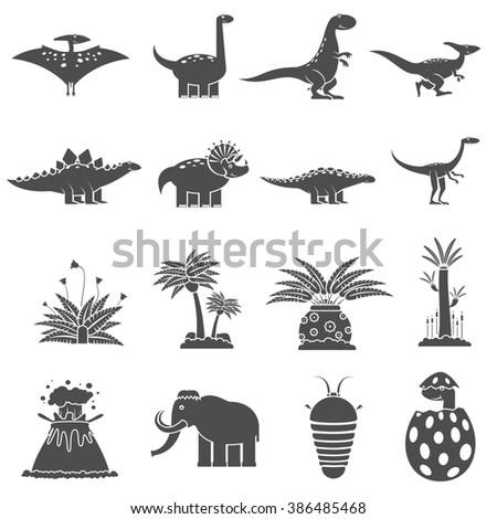 Dinosaurs Black Set - stock photo