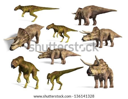 dinosaurs collection. Triceratops and Microceratops - stock photo