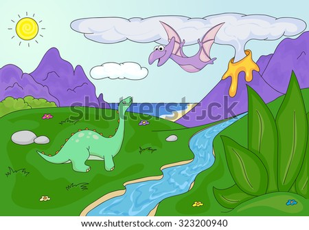 Dinosaurs diplodocus and pterodactyl on a background of  prehistoric nature: mountains, sea and ferns. Volcano spews lava. - stock photo
