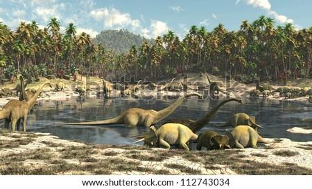 Dinosaurs Jurassic park - stock photo
