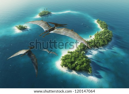 Dinosaurs natural park. Jurassic Period - stock photo