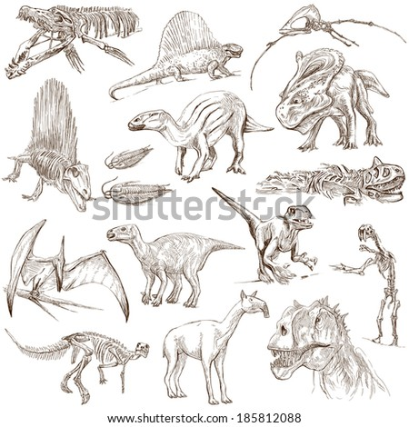 DINOSAURS (set no. 2) - Collection of an hand drawn illustrations. Description: Full sized hand drawn illustrations drawing on white background. - stock photo
