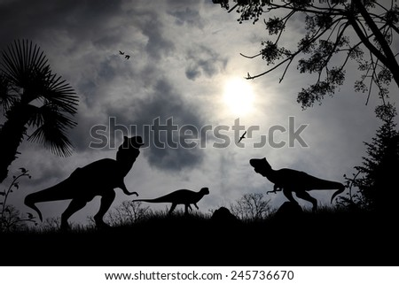 Dinosaurs silhouettes in beautiful cloudy landscape, background illustration - stock photo