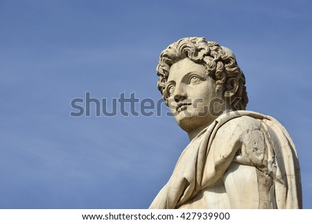 Dioskouri (with copy space). Ancient statue at the top of Capitol Hill staircase and balustrade, in the center of Rome (1st century BC)