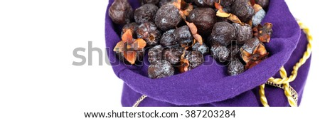 Diospyros lotus or Wild Persimmon on white background. Panoramic image. Selective focus. - stock photo