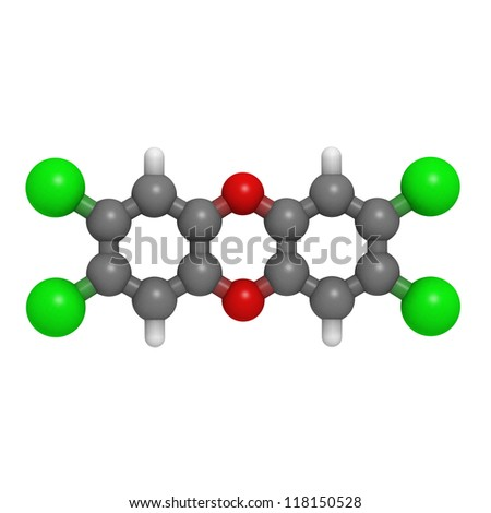 Dioxin (tetrachlorodibenzo-p-dioxin) pollutant molecule, chemical structure. Dioxins are important environmental and food pollutants.
