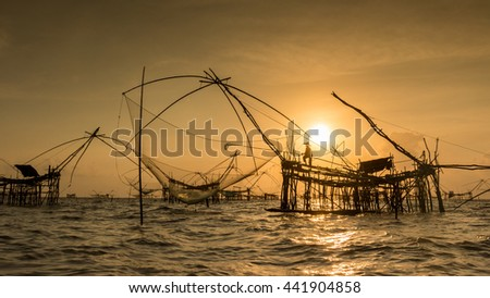 Dip Net Fishing, Pakpra, Thailand. - stock photo