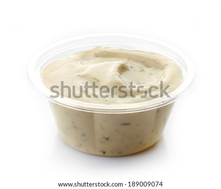Dip sauce  in a plastic take away container - stock photo