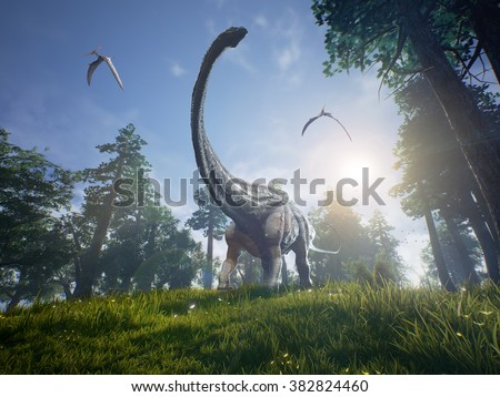 Diplodocus browsing a selection of trees with two Pteranodons flying overhead. - stock photo