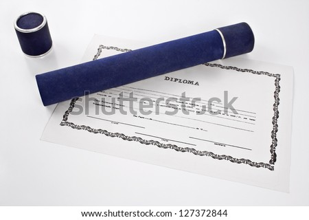 Diploma and blue tube on white background - stock photo