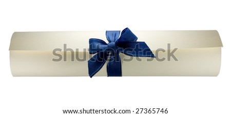 Diploma, certificate scroll on white background. - stock photo