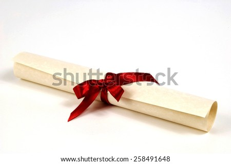 Diploma Certificate With Beautiful Red Ribbon On White Background - stock photo