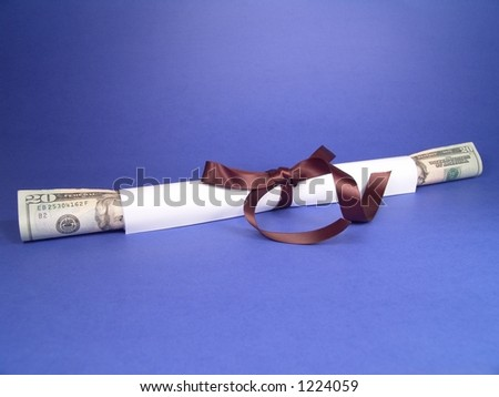Diploma & Currency - stock photo