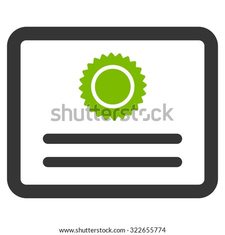 Diploma glyph icon. Style is bicolor flat symbol, eco green and gray colors, rounded angles, white background. - stock photo