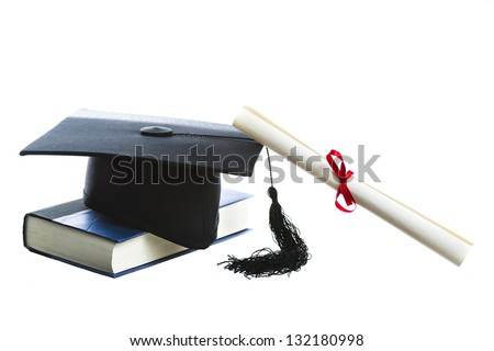 Diploma, Graduation hat and book isolated on white - stock photo
