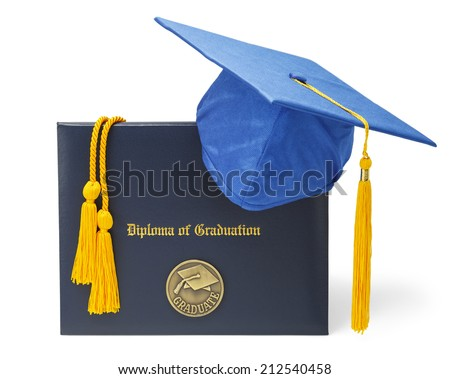 Diploma of Graduation with Blue Hat and Honor Cords Isolated on White Background. - stock photo