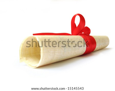 diploma papyrus document, certificate isolated - stock photo