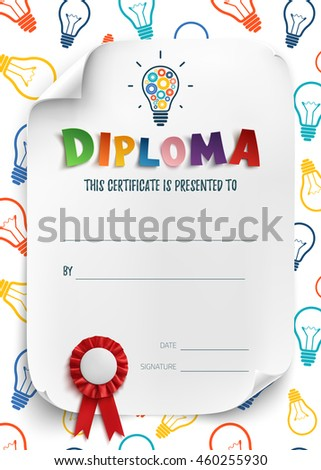 diploma template kids school preschool playschool stock  diploma template for kids school preschool playschool certificate background wit colorful light