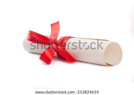 Diploma tied with red ribbon on a white  - stock photo