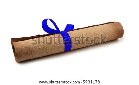 Diploma with blue ribbon on white background