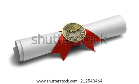 Diploma with Graduate Medal and Red Ribbon Isolated on White Background. - stock photo