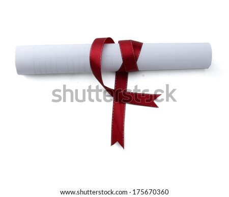 Diploma with red ribbon isolated on white background - stock photo