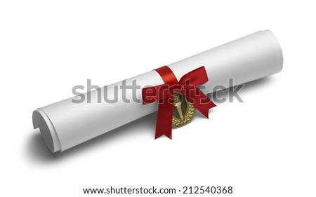 Diploma with Torch Medal and Red Bow Ribbon Isolated on White Background. - stock photo