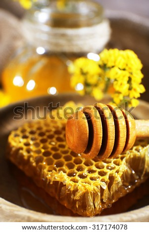 Dipper on honeycomb in bowl, close-up - stock photo
