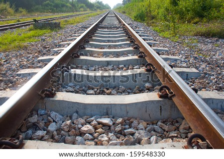 Diract Railroad , rail , rails , track , railway - stock photo