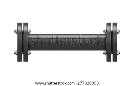 Direct connection portion of the black pipe isolated on white background. 3d illustration.