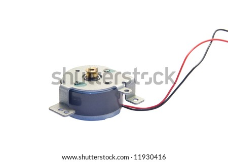 Direct Current - DC - Electric motor with wires against white background
