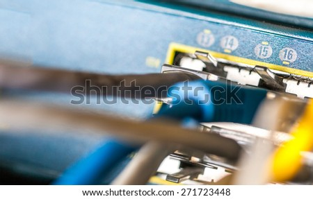 Direct line of network attached to device - stock photo