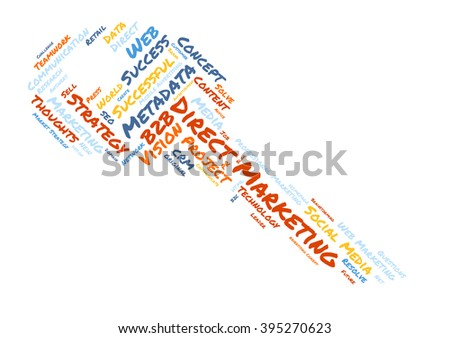 Direct Marketing word cloud shaped as a key