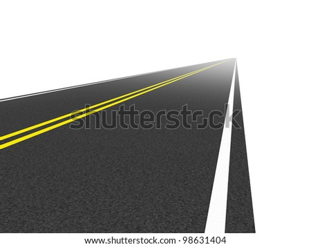 direct road leading to the horizon. on a white background