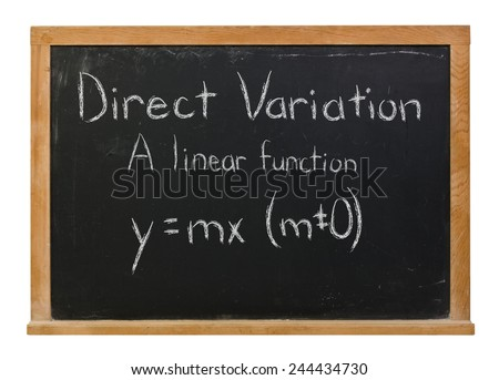 Direct variation with the formula written in white chalk on a black wood framed chalkboard isolated on white - stock photo
