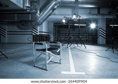directed by the chair in the parking lot - stock photo