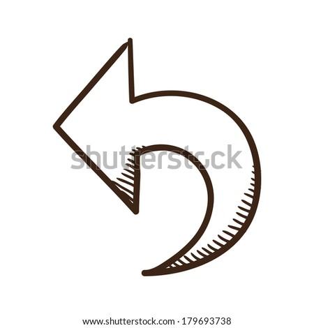 Direction arrow symbol. Isolated sketch icon pictogram. - stock photo