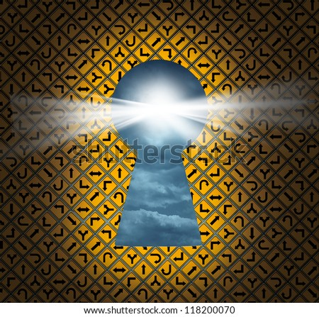 Direction key hole as a solution for success from confusion and chaos with a group of yellow road and highway signs as a keyhole shaped opening for hope and aspirations in wealth and health. - stock photo