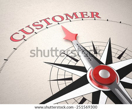 Direction of Customer, Compass concept, 3d render - stock photo