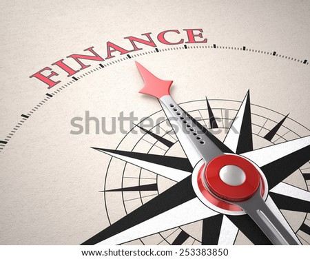 Direction of Finance, Compass concept, 3d render - stock photo