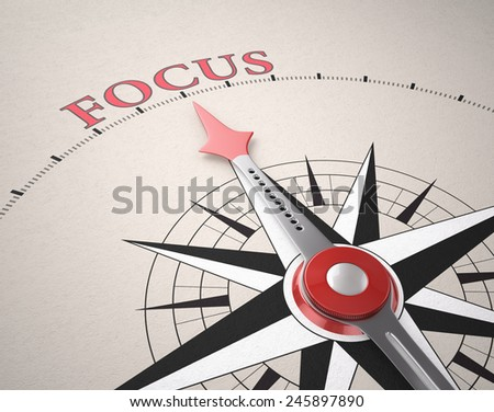 Direction of Focus, Compass concept, 3d render - stock photo